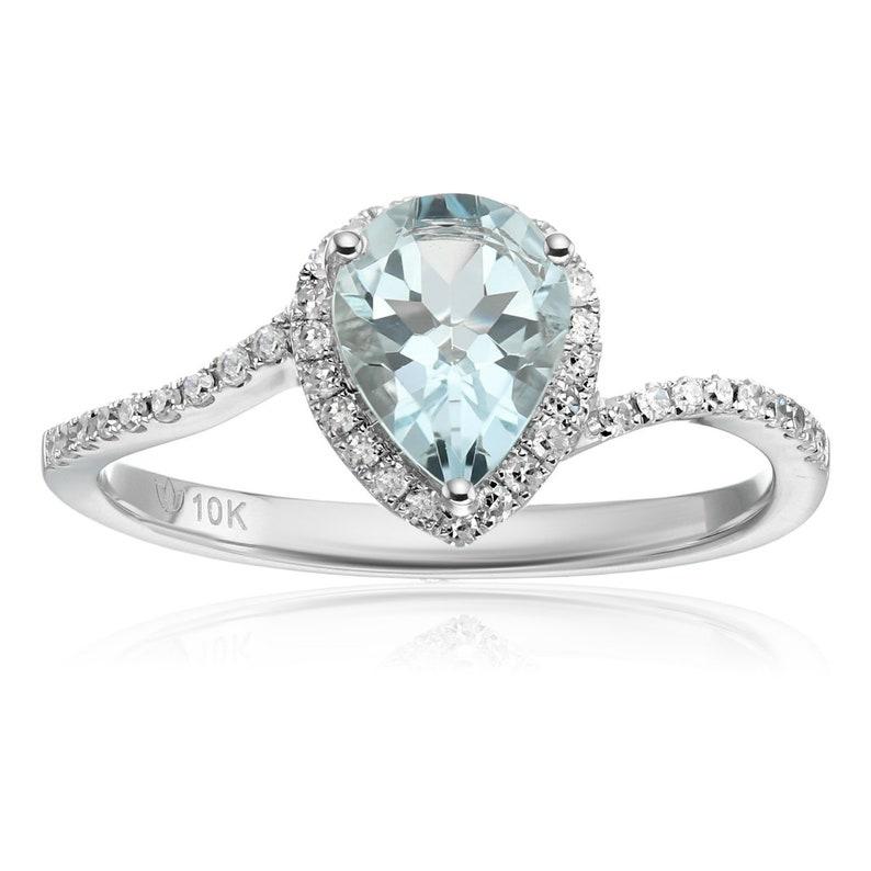 Pinctore 10KT White Gold Aqamarine Classic Ring