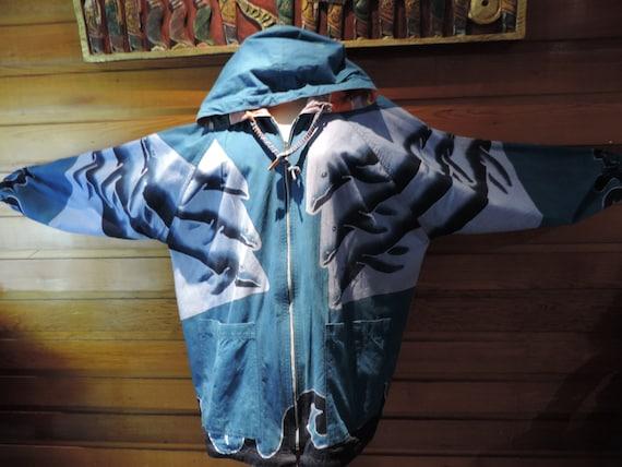 Vintage Reversable Coat,Vintage Whale Coat,Double