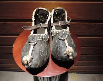 Antique Shoes,Antique Leather Shoes,Opanak Shoes,Traditional European Shoes,Antique European Moccasins,Leather Opanak Shoes,Historical Shoes