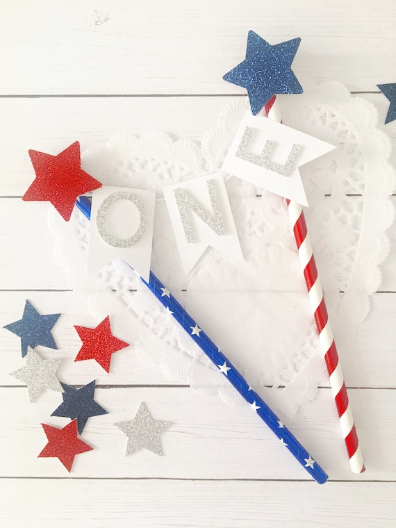 Red White And Blue Cake Topper 4th Of July Birthday Cake Etsy