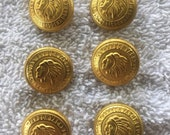 Indian Harbor Yacht Club Gold Tone Superior Metal Button Set B104
