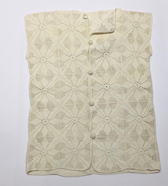 True Vintage Cotton Crochet Granny Square Vest Si… - image 5