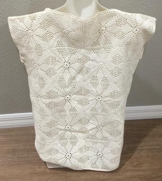True Vintage Cotton Crochet Granny Square Vest Si… - image 4