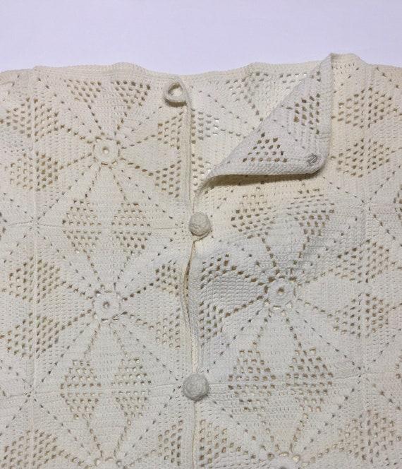 True Vintage Cotton Crochet Granny Square Vest Si… - image 6