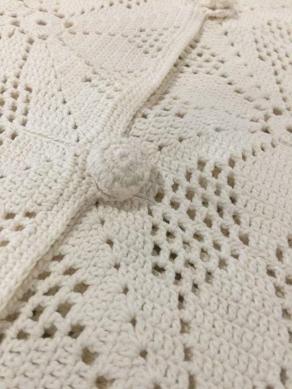 True Vintage Cotton Crochet Granny Square Vest Si… - image 7