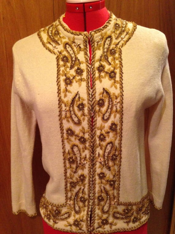 1950's Beaded Champagne golds and bronzes sweater