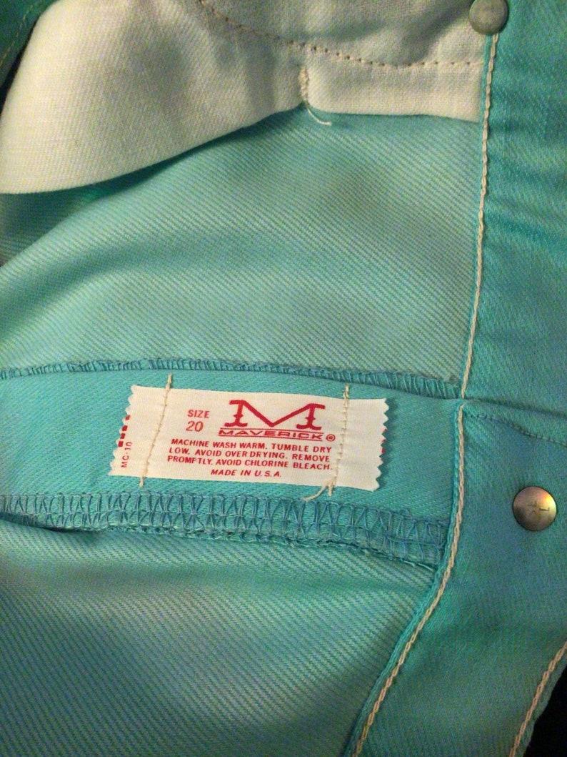 Dead stock Western Maverick 1960\u2019s flare turquoise Vintage NOS LARGE mod hippie,