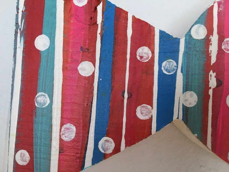 Wooden Red and Blue Striped Fish Beach Coastal Wall Hanging Decor