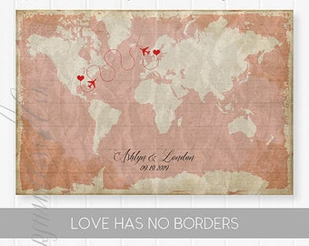 Wedding Map Guest Book Canvas Wedding Signs, Destination Wedding Gift Ideas Unique Guest Book Alternative Vintage World Map Guestbook Poster