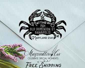 Beach Wedding Gift Crab Address Stamp - Return Address Stamp - Personalized Home Address Stamp - Custom Wood Stamp Address - Nautica Stamp