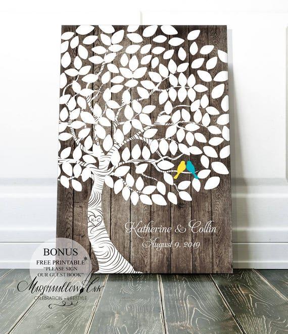 Wedding Guest Book Alternative Guestbook Rustic Tree Guest Board Wood Effect