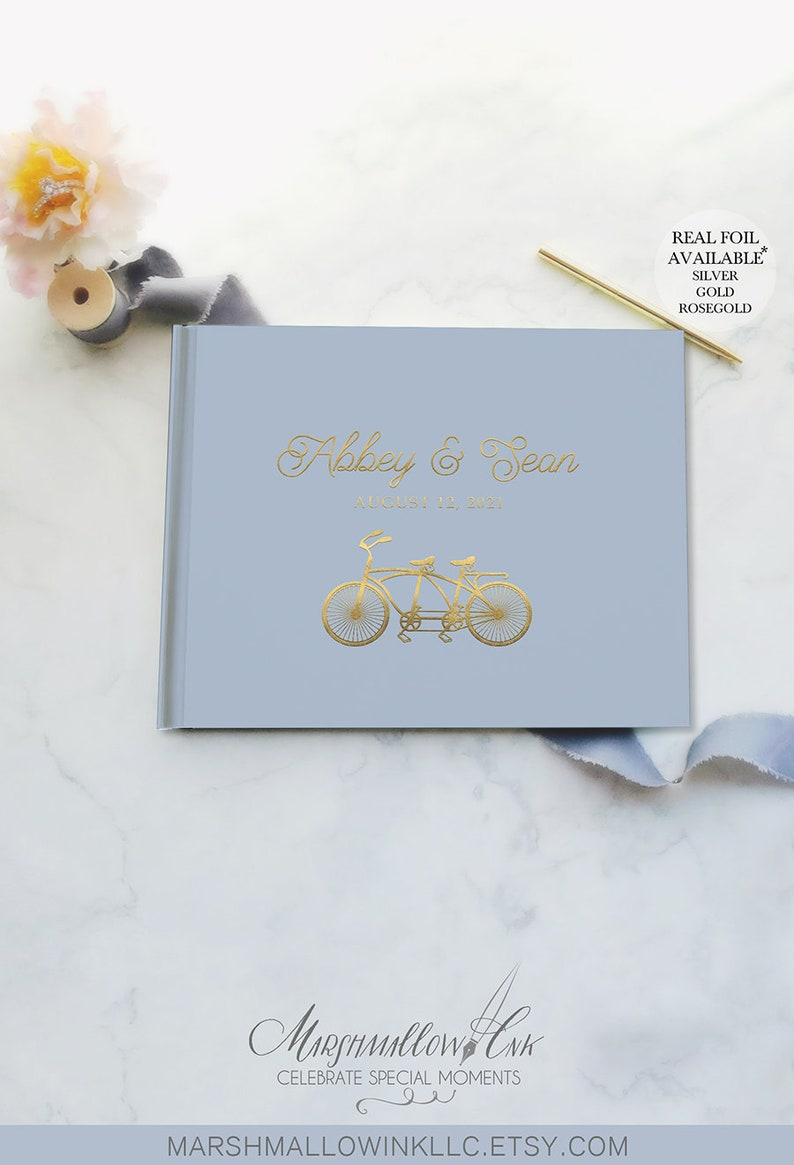 Dark brown guest book bicycle Custom guestbook wedding gift Instax photo guest book wedding album Black pages guest book with gold foil