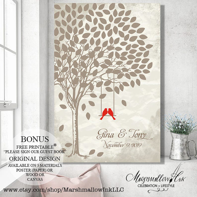 Custom guest book wedding tree canvas sign Rustic wedding guest book  alternative Wedding gift for bride Wedding signs wood guest book sign