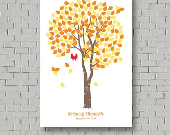 Fall Wedding Guest Book - Wedding Poster - Wedding Tree - Birch Tree Guest Book - Wedding Art Print - Unique Wedding Gift