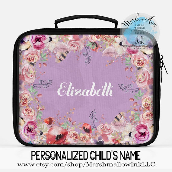 PERSONALISED MULTI NAME PRINT KIDS SCHOOL INSULATED CANVAS LUNCHBOX LUNCHBAG