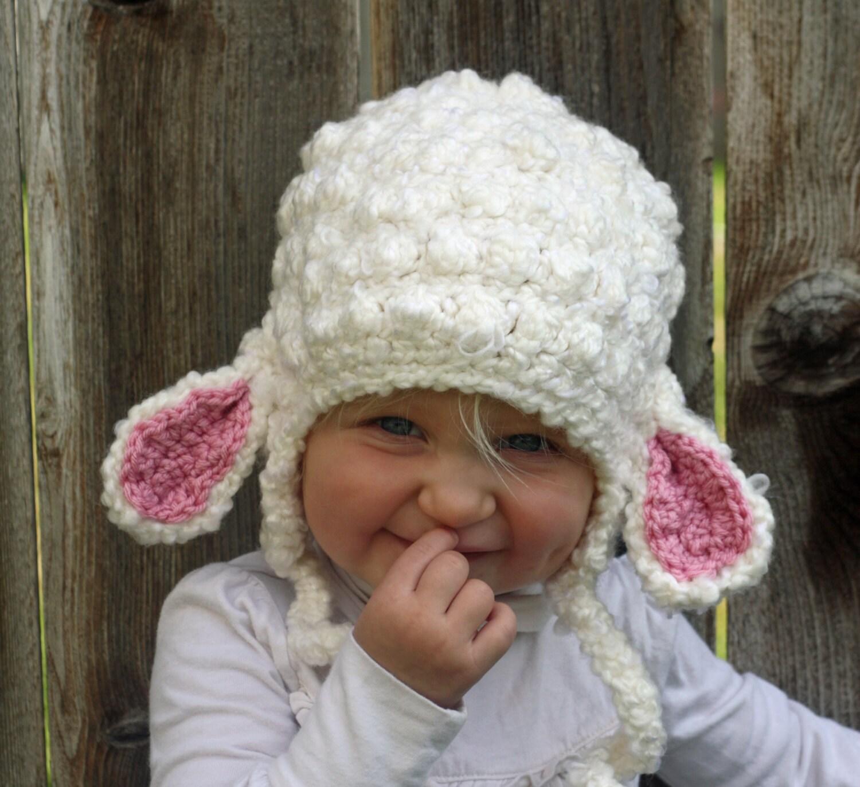 34090873633 Little Girls Crochet Lamb Hat