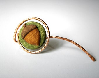 Acorn Scarf/Shawl Pin-Hammered Copper-Polymer Clay-Handcrafted