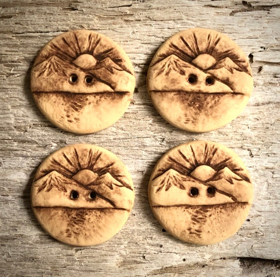 brown and beige polymer clay handcrafted buttons 4 Beige Elk Buttons