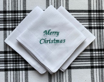 Merry Christmas Stocking Stuffer Custom Phrase Set of 3 White Handkerchiefs Personalized Gift for Men Cotton Hankie
