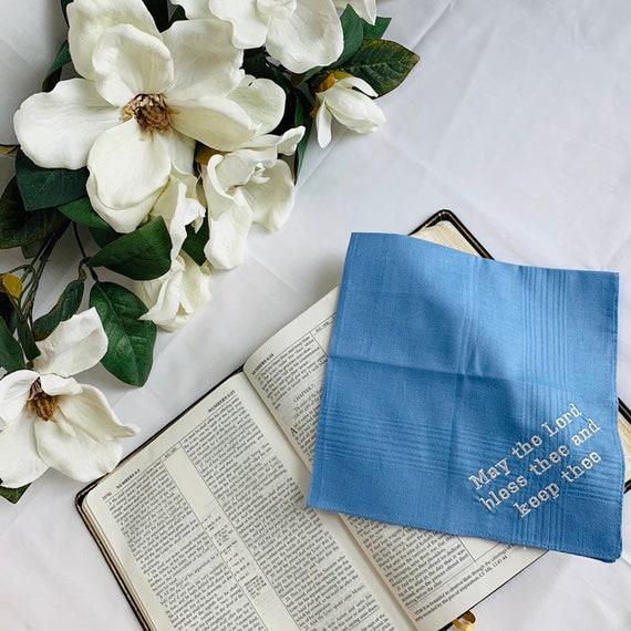 Inspirational Gift Embroidered Handkerchief Make a Joyful Noise unto the Lord KJV Scripture Verse Custom Blue Handkerchief