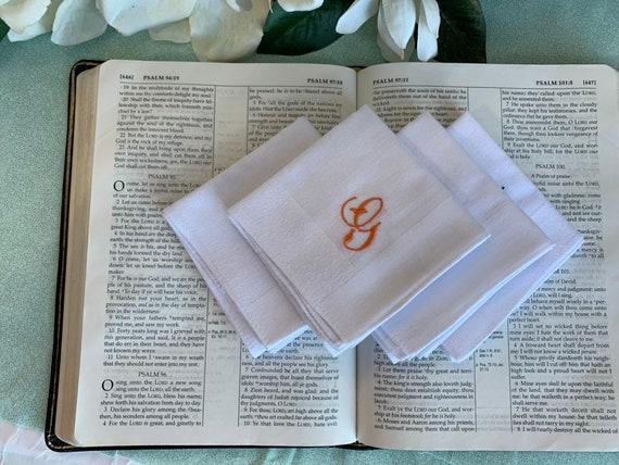 Hanky Lot Custom Monogrammed Personalized Hankie Set of 4 white Handkerchiefs