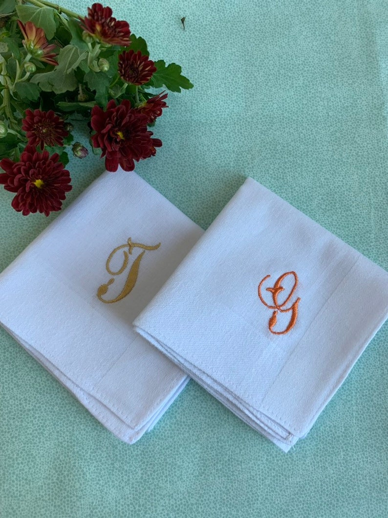 Set of 2 White Handkerchiefs Personalized Hankie Hanky Lot Gift for Groom Custom Monogrammed