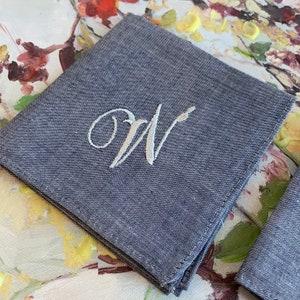 1 Gray Monogrammed Handkerchief Groomsmen Gift Embroidered Handkerchief Personalized Embroidered Initial