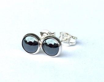 91665091c Silver Studs .. Small 6MM Stud Earrings .. Hematite Studs .. Hematite  Earrings