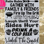 Patio Rules SVG Porch Sign