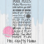 Pool Rules, Back yard Outdoor Sign SVG Silhouette Cricut Digital File