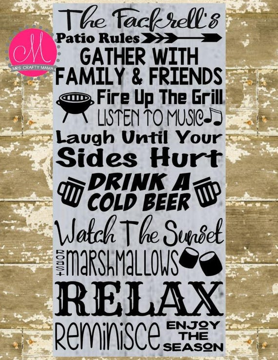Patio Rules Svg Porch Sign Etsy