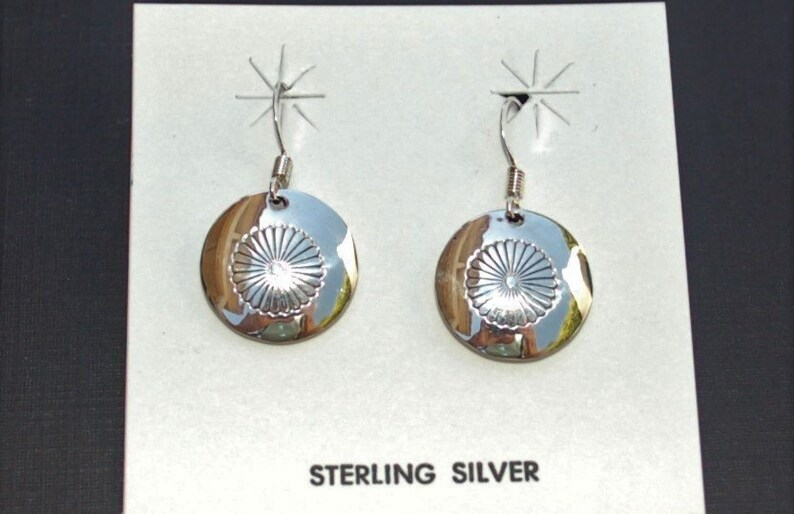 Beautiful Navajo Handmade Sterling Silver Concho Stamp Post Earrings