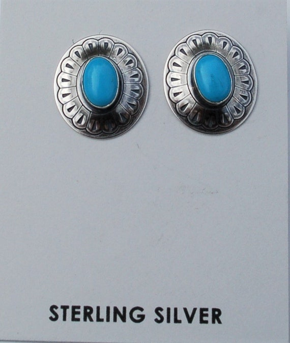 Navajo Sterling Silver And Turquoise Stud Earrings