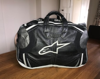 Race Suit, leather recycled leather Holdall, Upcycled leather bag,leather weekender, leather overnight bag, leather hand luggage ,Dainese
