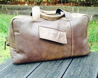 MICHAEL-Large Distressed Leather holdall, Overnight Bag ,Black leather, brown leather,  harris tweed, Tan Leather