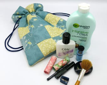 makeup bag - draw string bag - make up bag - fabric bag - toiletry bag - cosmetic bag - patchwork bag - cosmetic pouch bag - uk seller