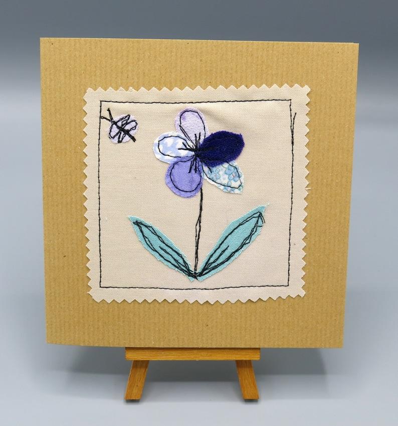 Floral Card Textile Flower Stitched