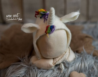 Unicorn rainbow felted bonnet, newborn hat, photography prop, ready to shipping