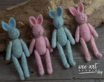 Felted blue and pink Tiny Rabbit , Photography Prop, Tiny Bunny Needle Felted, newborn props