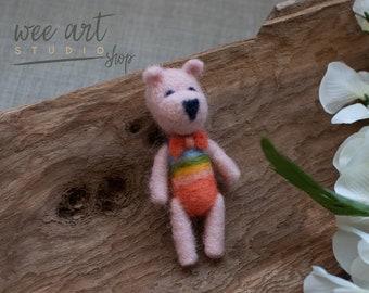 Felted Rainbow Bear, ready to shipping , uk free shipping