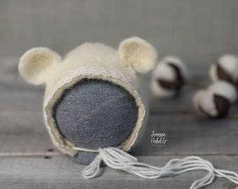 The Ecry Bear bonnet finished with cotton lace/  Needle Felted  Bonnet / Newborn Photography / Photo Prop