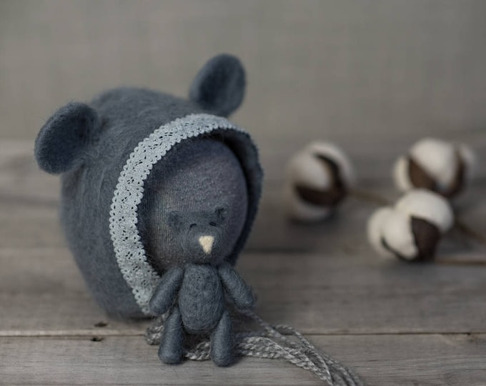 Featured listing image: The Grey Bear bonnet finished with cotton lace and Tiny Bear Set