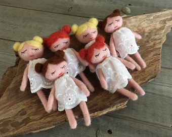 Tiny doll, Photography Prop,Needle Felted, ready to shipping , uk free shipping