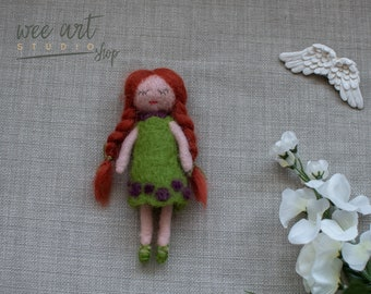 Felted red hair doll, ready to shipping , uk free shipping
