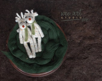 Felted White Reindeer Rudolph , ready to shipping , uk free shipping