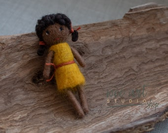 Tiny felted doll, African American doll , ready to shipping , uk free shipping