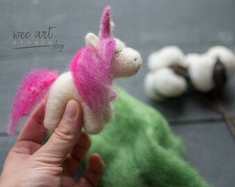 Tiny Needle Felt Unicorn /  Newborn Photography Prop Needle Felted