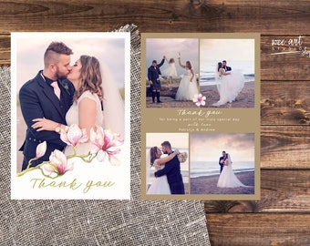 Magnolia Wedding Thank You Card Templates for Photographers 7x5