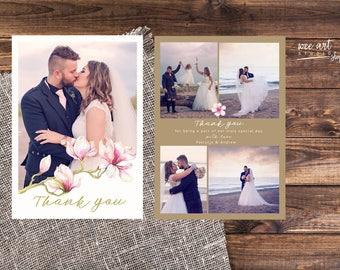 Magnolia Wedding Thank You Card Templates for Photographers 7x5
