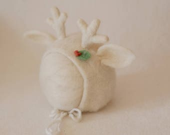Sitter White/ Ecry Reindeer Needle Felted  Bonnet Hat , Photography Photo Prop